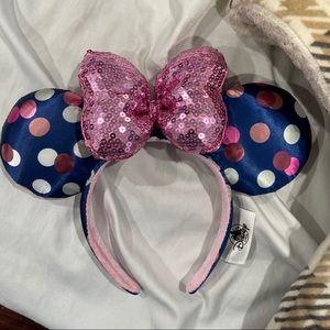 Disney Minnie Navy Blue & Pink Dot Sequin Bow Ear